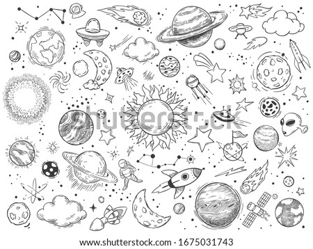 Space doodle. Astrology doodles, sketch space universe planets and hand drawn cosmic rocket  illustration set. Monochrome celestial bodies, spacecrafts and astronomy symbols drawings pack