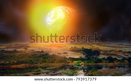 Space fiction, moonlight fantasy. Full moon (satellite) on another major planet like Earth. Deserted alien planet and huge satellite, young moon as jupiter with eddy atmosphere