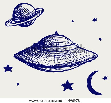 Space flying saucer. Doodle style. Raster version