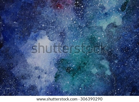 Space hand painted watercolor background. Abstract galaxy painting. Cosmic texture with stars. Night sky.