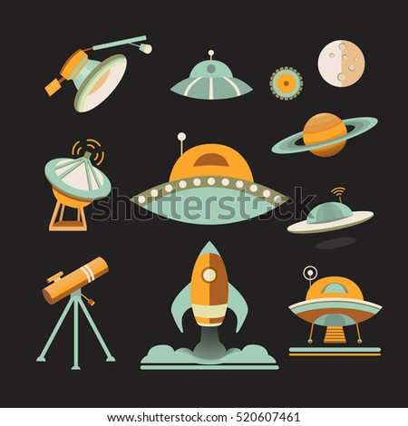 space icon set. collection of...