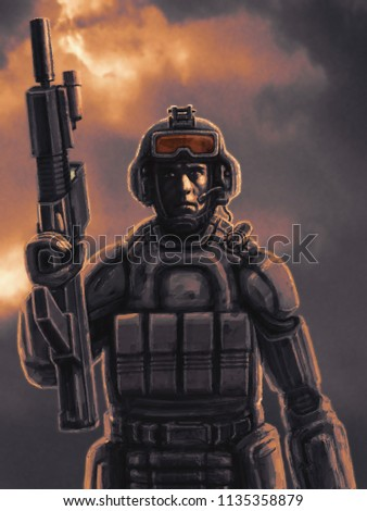 Space infantry with a heavy rifle. Science fiction character soldier.