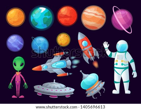 Space items. Alien ufo, universe planet and missile rockets. Planets game design. Fantastic world or fantasy sky astronomy kit. Cartoon graphics  item isolated icons set