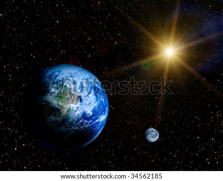 Space landscape - Earth and moon in universe illustration
