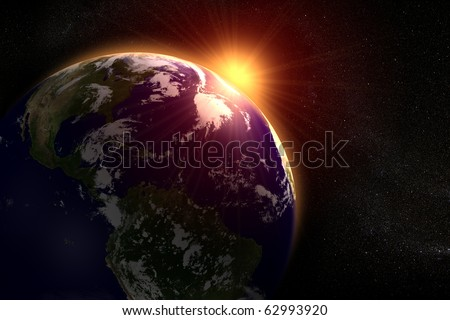Space landscape of the sun rising behind the earth