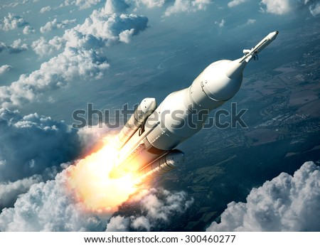Space Launch System Flying Over The Clouds. 3D Scene.