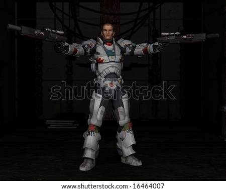 Space Marine with Dark Background, 3d digitally rendered illustration