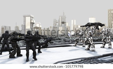 Space Marines and Combat Droids Battle in a futuristic science fiction city, 3d digitally rendered illustration