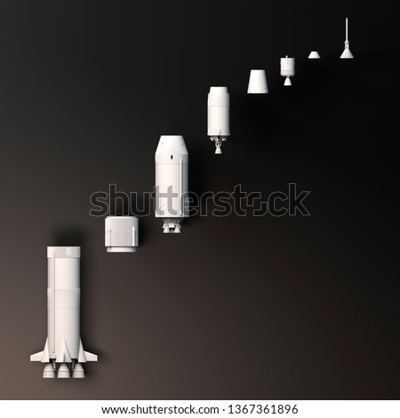 Space mission, conquest of space. Saturn V. Rocket to the moon. The fiftieth anniversary of the moon landing. Apollo mission 11. Section of the rocket. 3d rendering