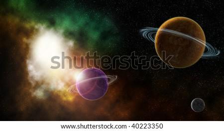 Space nebula and planets - stock photo