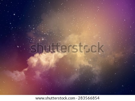 Space of night sky with cloud and stars. #283566854