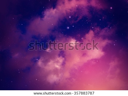 Space of night sky with cloud and stars. #357883787