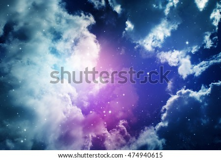 Space of night sky with cloud and stars #474940615