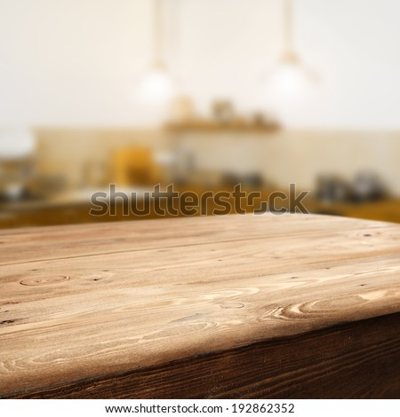 space of wooden top and retro kitchen  - stock photo
