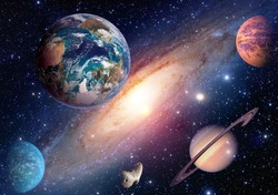 Space planet galaxy milky way Earth Mars Saturn universe astronomy solar system. Elements of this image furnished by NASA.