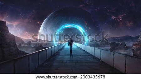 Space planet portal digital art 3d illustration. Magic portal on mountain cliff with rocks around, fantasy landscape background with glowing entrance under starry sky mountain at night.