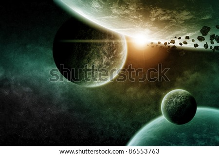 Space planets illustration - stock photo