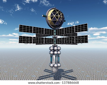 Space Probe and Alien Planet Computer generated 3D illustration