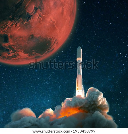 Space rocket shuttle takes off into the starry sky to Mars. Exploration and settling of the red planet Mars, concept. Spaceship with smoke and blast lift off into space.
