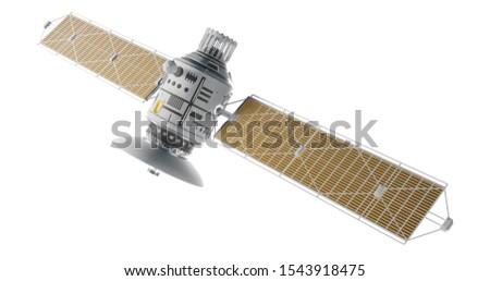 Space satellite communication. 3d render sputnik illustration. Isolated on white background.