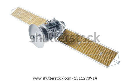 Space satellite communication. 3d render sputnik illustration. Satelite isolated on white background.