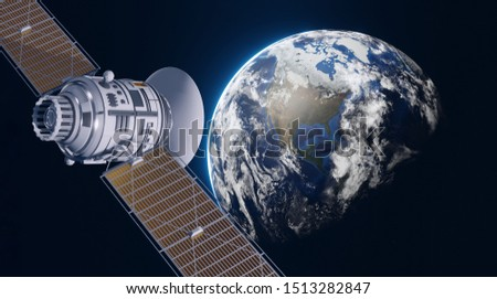 Space satellite communication in orbit around Earth. 3d render orbital sputnik illustration. Elements of this image are furnished by NASA.