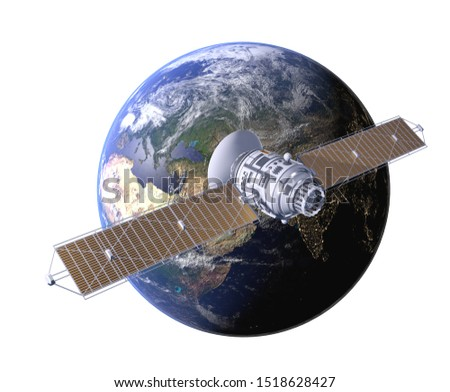Space satellite communication in orbit around Earth. 3d render orbital sputnik isolated illustration. Elements of this image are furnished by NASA.