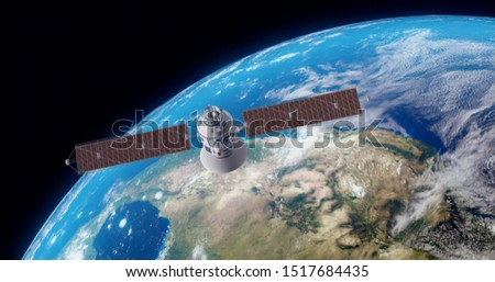 Space satellite communication in orbit around Earth globe. 3d render orbital sputnik illustration. Elements of this image are furnished by NASA.