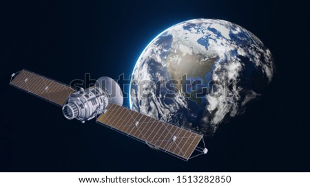 Space satellite in orbit around Earth. 3d realistic illustration. Global communication concept. Elements of this image are furnished by NASA.