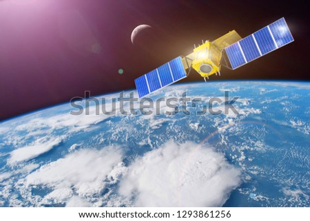 Space satellite in orbit around the Earth. Elements of this image furnished by NASA.