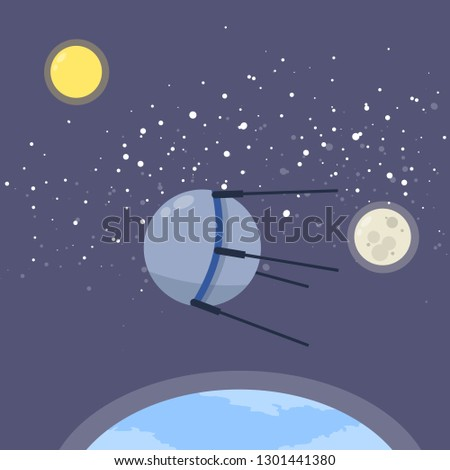 Space satellite in orbit of the earth. The development of the universe. Soviet sputnik. The first machine in space. Historical invention. Star and moon. Cartoon flat illustration