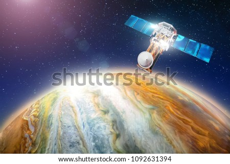 Space satellite orbiting the planet the study of the gas giant, the search for life on another celestial body. Elements of this image furnished by NASA #1092631394