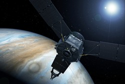 Space satellite, probe, above Jupiter, with the sun. Elements of this image were furnished by NASA