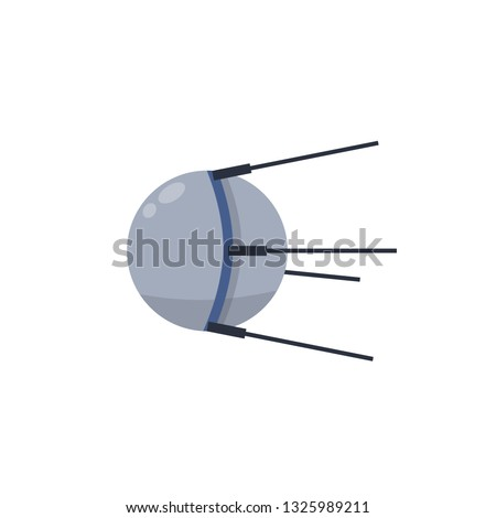 Space satellite. Soviet Sputnik. The first spacecraft to orbit the earth. Historical technology of development of the world. Science and technology of the USSR. Cartoon flat illustration