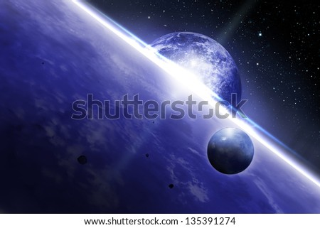 Space scene in deep outer space