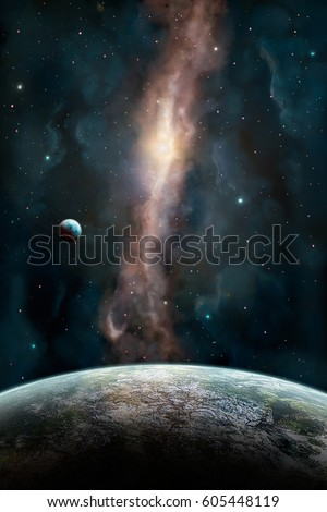 Space scene. Orange and dark blue nebula with one big planet in front and small planet up. 3D Illustration. Elements furnished by NASA