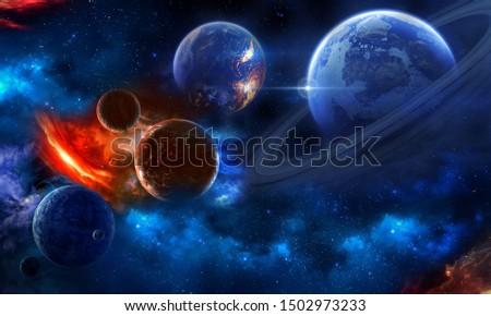 Space scene with planets, stars and galaxies. Height resolution image for 3d floor