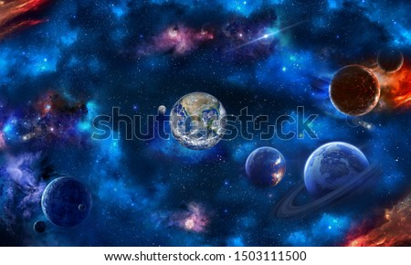 Space scene with planets, stars and galaxies. Height resolution image for 3d floor. 3d wallpaper