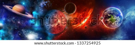 Space scene with planets, stars and galaxies. Panoramic background. Horizontal view for a glass panels (skinali).