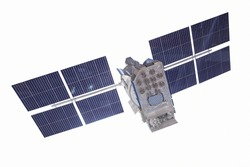 Space science satellite on isolated white background