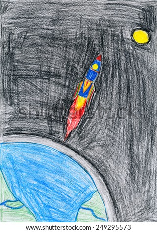 space ship. child drawing.