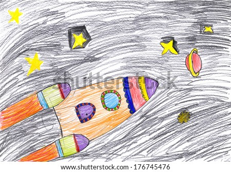 space ship. child\'s drawing.