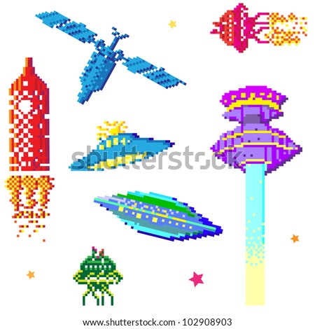 space ships and satellite collection, pixel art style elements isolated on white