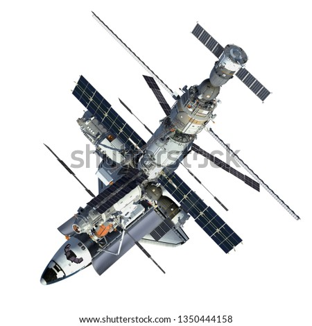 Space Shuttle And Space Station On White Background. 3D Illustration.