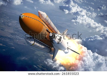 Stock Photo Space Shuttle Flying Over The Clouds. 3D Scene.