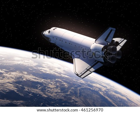 Space Shuttle In Space. 3D Illustration.