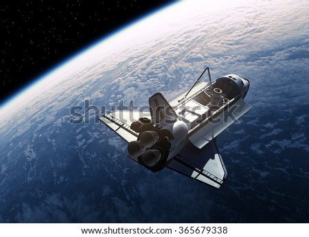 Stock Photo Space Shuttle In Space. 3D Scene.