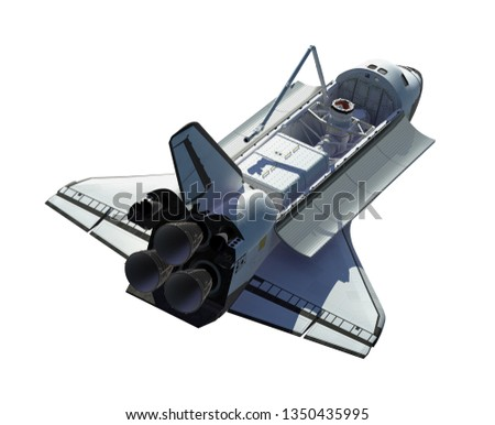 Space Shuttle Isolated On White Background. 3D Illustration.