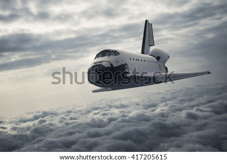 Stock Photo Space Shuttle Landing. 3D Illustration.