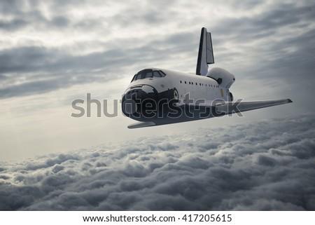 Stock Photo Space Shuttle Landing. 3D Illustration.